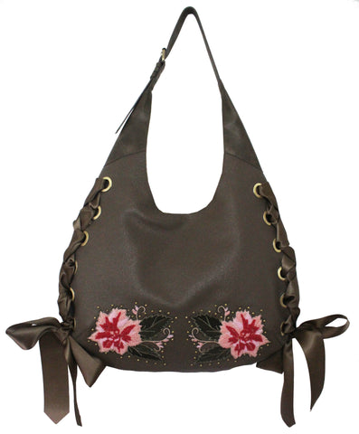 FLORAISON HOBO IN SLATE W/FLOWERS