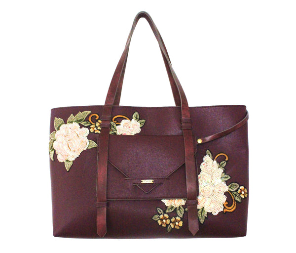 FLORAISON REVERSIBLE TOTE IN MULBERRY W/FLOWERS