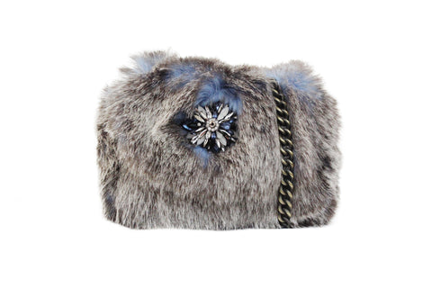 RISING MOON FAUX FUR CROSS BODY IN BLUE