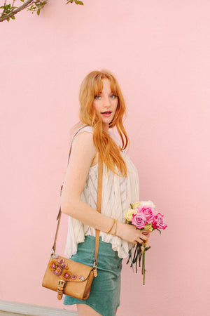 Scattered Blooms Crossbody in Almond