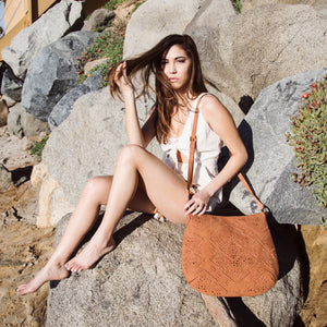 Amarillo Crossbody Hobo in Terracotta