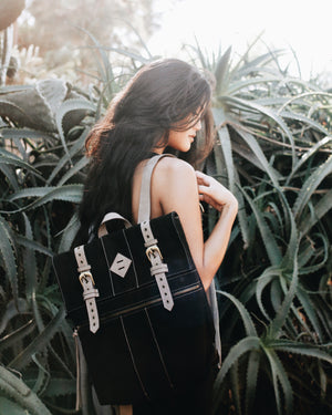 Lost Highway Canvas Backpack in Black