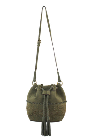 Amarillo Drawstring Bucket Bag in Prairie