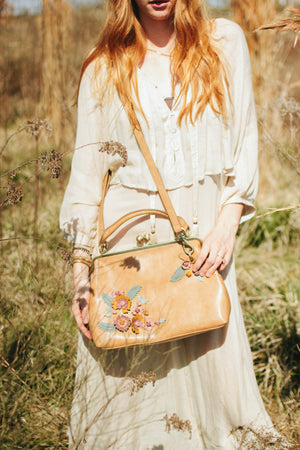 Scattered Blooms Frame Satchel in Almond