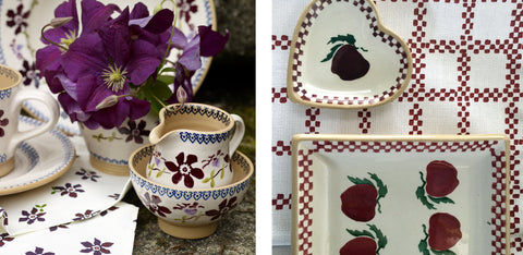 Clematis and Apple Pattern Nicholas Mosse Pottery handcrafted spongeware