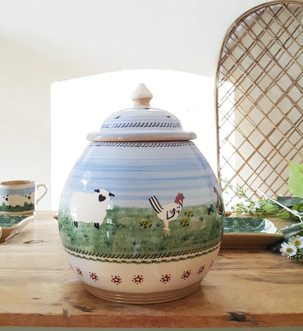 Landscape assorted cookie jar Nicholas Mosse Pottery handcrafted spongeware