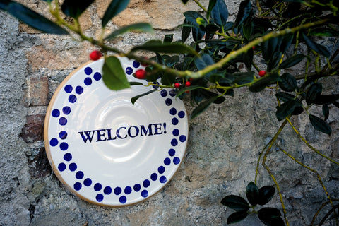 Nicholas Mosse Pottery Welcome sign
