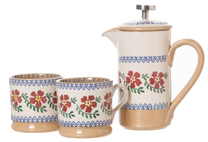 1 Small Cafetiere & 2 Small Mugs Old Rose spongeware pottery by Nicholas Mosse Pottery - Ireland - Handmade Irish Craft