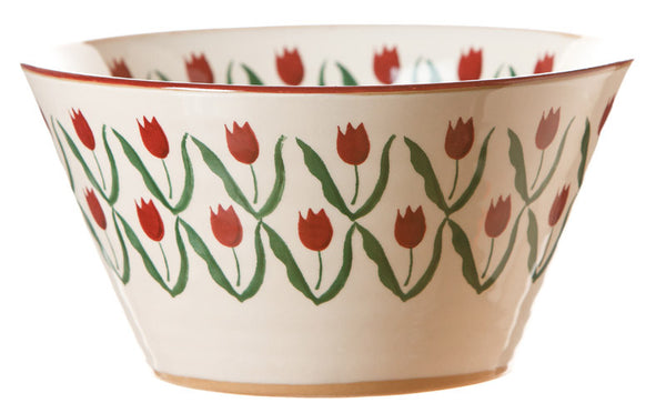LARGE ANGLED BOWL RED TULIP