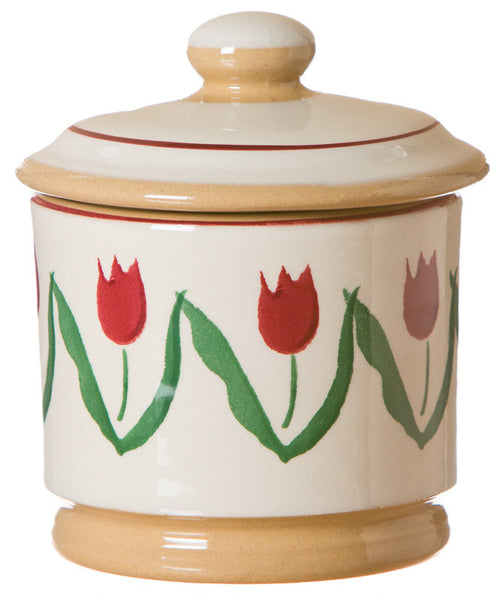 LIDDED SUGAR BOWL RED TULIP