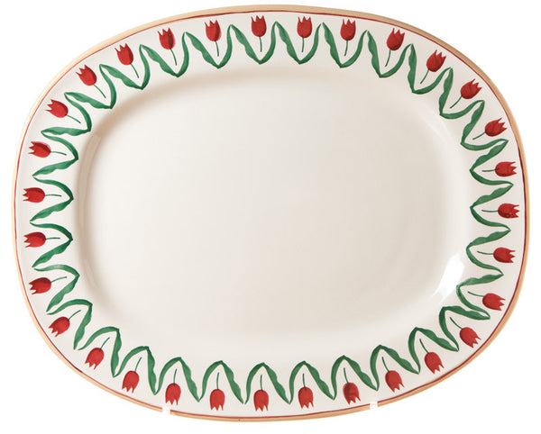 OVAL PLATTER BORDER RED TULIP