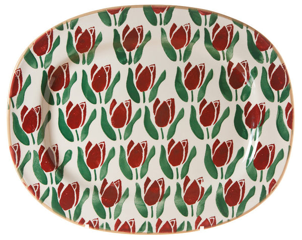 OVAL PLATTER RED TULIP