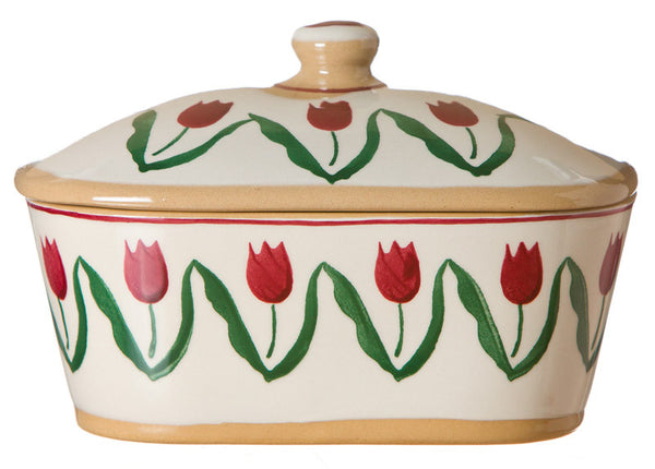 COVERED BUTTER DISH RED TULIP