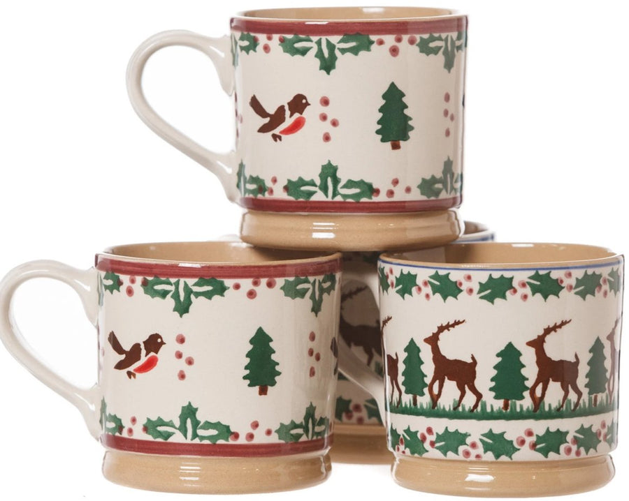 2 Large Mugs Winter Robin & 2 Tall Tall Mugs Reindeer spongeware pottery by Nicholas Mosse Pottery - Ireland - Handmade Irish Craft