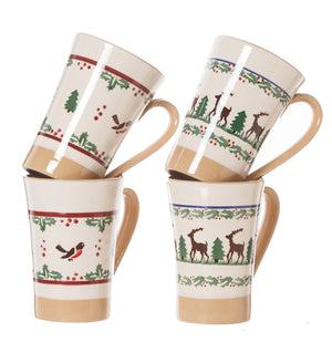 2 Tall Mug Winter Robin & 2 Tall Mug Reindeer spongeware pottery by Nicholas Mosse Pottery - Ireland - Handmade Irish Craft