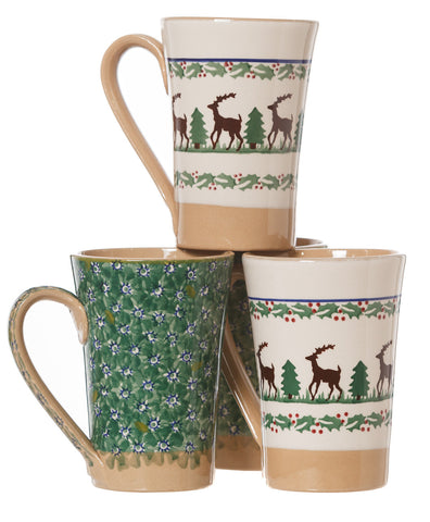 2 Tall Mugs Reindeer & 2 Tall Mugs Green Lawn