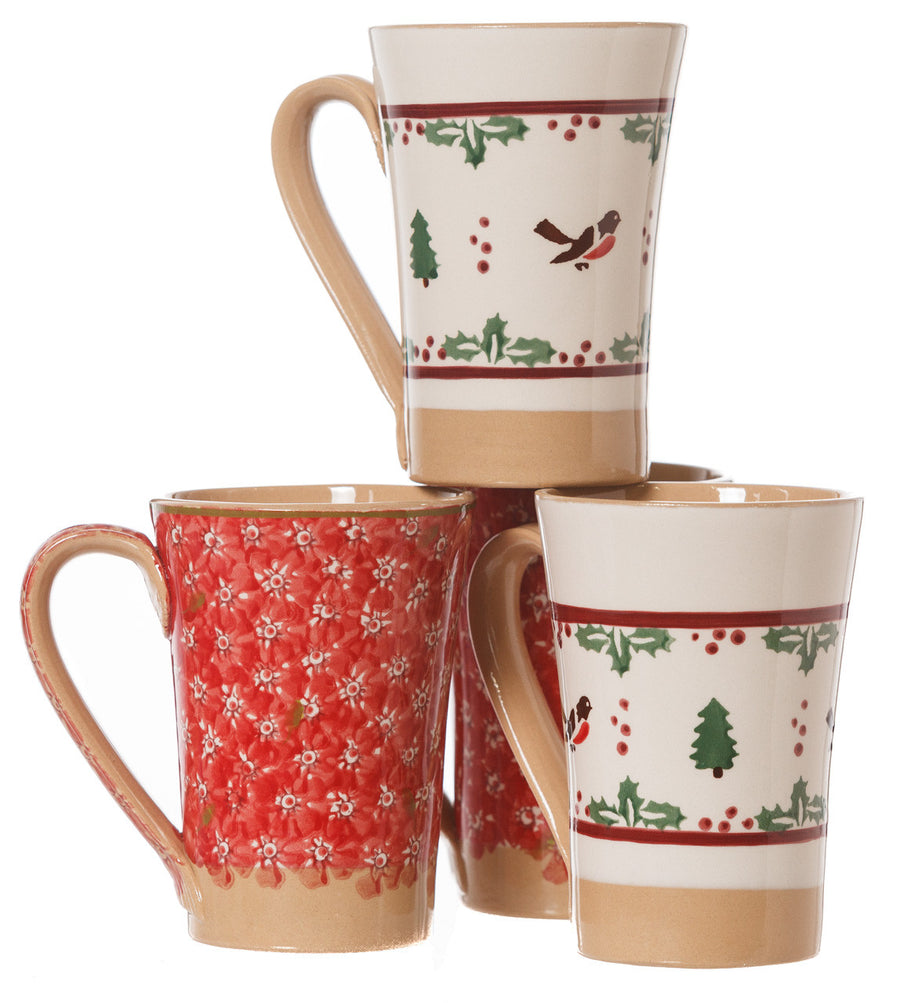 2 Tall Mugs Winter Robin & 2 Tall Mugs Red Lawn spongeware pottery by Nicholas Mosse Pottery - Ireland - Handmade Irish Craft