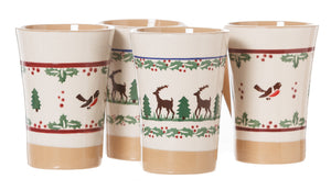2 Tall Mugs Winter Robin & 2 Tall Mugs Reindeer 2 spongeware pottery by Nicholas Mosse Pottery - Ireland - Handmade Irish Craft