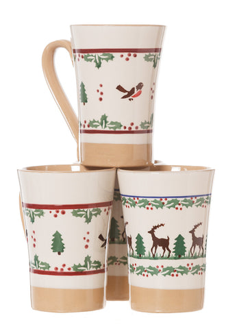 2 Tall Mugs Winter Robin & 2 Tall Mugs Reindeer 3 spongeware pottery by Nicholas Mosse Pottery - Ireland - Handmade Irish Craft