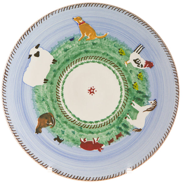 "Nicholas Mosse 9"" Footed Cake Plate Assorted Animals"