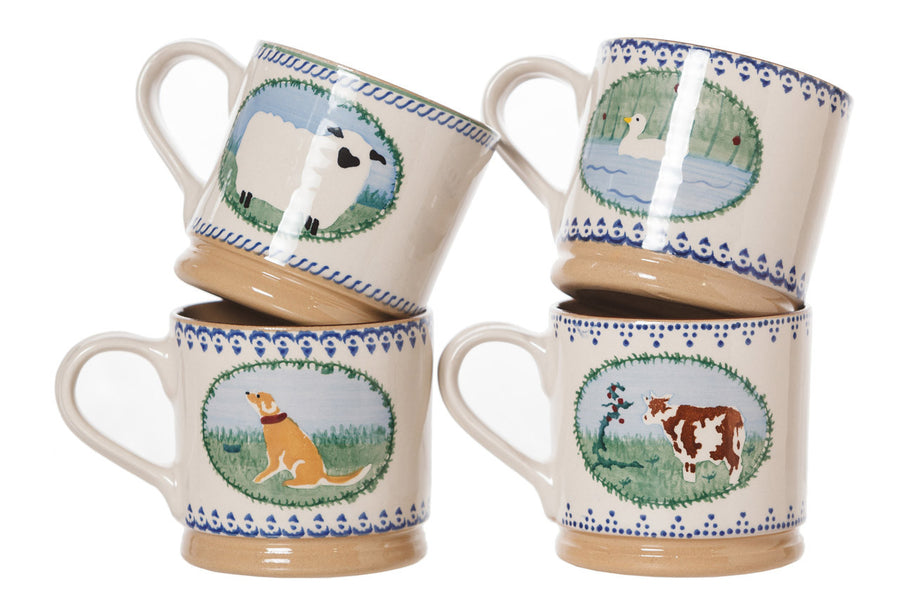 4 Large Mugs Landscape spongeware pottery by Nicholas Mosse Pottery - Ireland - Handmade Irish Craft