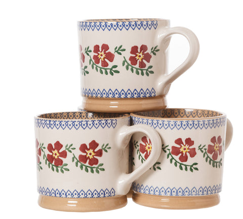 4 Large Mugs Old Rose spongeware pottery by Nicholas Mosse Pottery - Ireland - Handmade Irish Craft