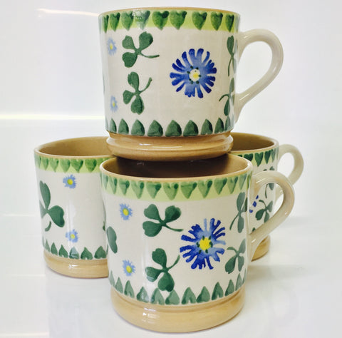 4 Small Mugs Clover spongeware by Nicholas Mosse Pottery - Ireland - Handmade Irish Craft
