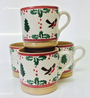 4 Small Mugs Winter Robin spongeware by Nicholas Mosse Pottery - Ireland - Handmade Irish Craft