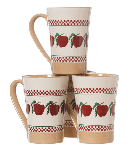4 Tall Mugs Apple spongeware pottery by Nicholas Mosse Pottery - Ireland - Handmade Irish Craft