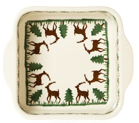 Small Square Oven Dish Reindeer