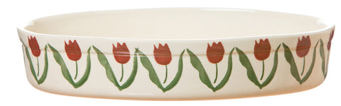 SMALL OVAL OVEN DISH RED TULIP