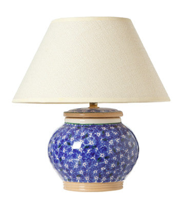 5 Inch Lamp Dark Blue Lawn spongeware by Nicholas Mosse Pottery - Ireland - Handmade Irish Craft