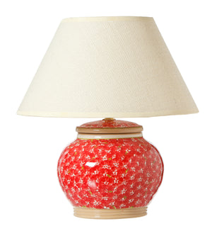 5 Inch Lamp Red Lawn spongeware by Nicholas Mosse Pottery - Ireland - Handmade Irish Craft