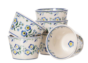 6 Custard Cups Forget Me Not spongeware pottery by Nicholas Mosse Pottery - Ireland - Handmade Irish Craft