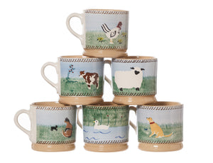 6 Small Mugs Assorted Animals spongeware pottery by Nicholas Mosse Pottery - Ireland - Handmade Irish Craft