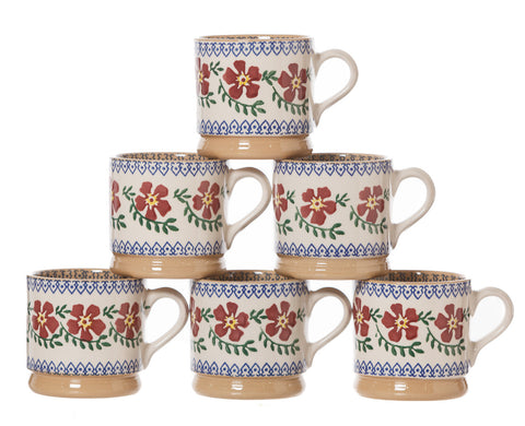 6 Small Mugs Old Rose spongeware pottery by Nicholas Mosse Pottery - Ireland - Handmade Irish Craft