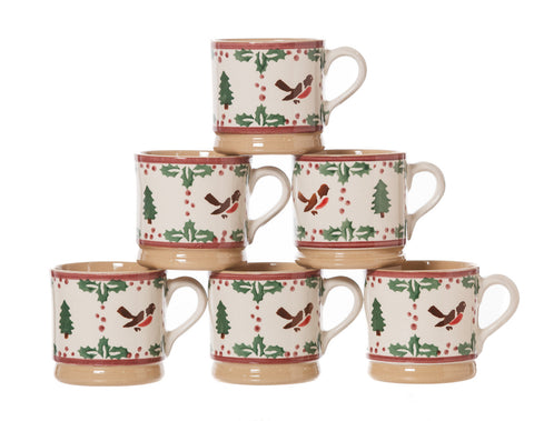 6 Small Mugs Winter Robin spongeware pottery by Nicholas Mosse Pottery - Ireland - Handmade Irish Craft