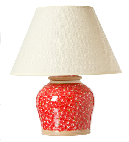 7 inch Lamp Lawn Red spongeware pottery by Nicholas Mosse Pottery - Ireland - Handmade Irish Craft