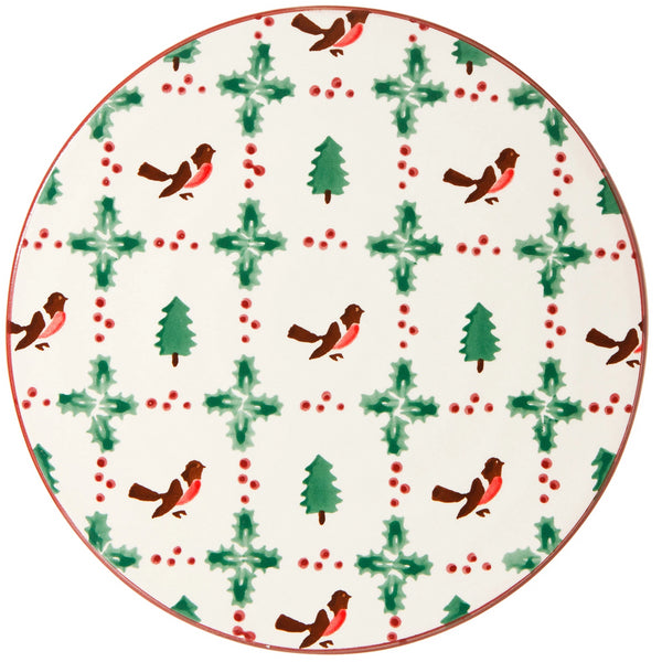 "9"" FOOTED CAKE PLATE WINTER ROBIN"