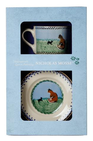 Box Set Small Mug and Tiny Plate Cat spongeware pottery by Nicholas Mosse, Ireland - Handmade Irish Craft - nicholasmosse.com