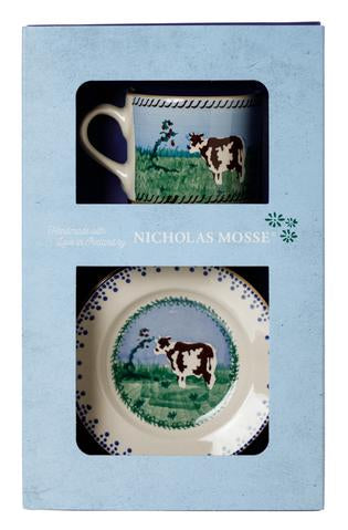 Box Set Small Mug and Tiny Plate Cow