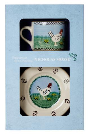 Box Set Small Mug and Tiny Plate Hen spongeware pottery by Nicholas Mosse, Ireland - Handmade Irish Craft - nicholasmosse.com