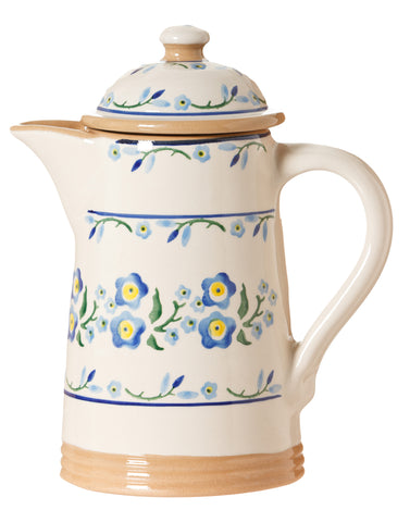 Coffee pot Forget Me Not spongeware pottery by Nicholas Mosse Pottery - Ireland - Handmade Irish Craft