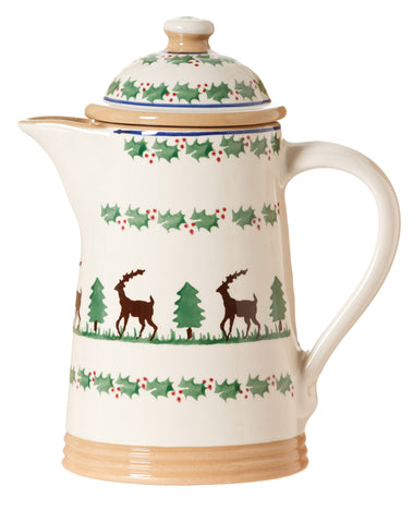 Coffee pot Reindeer spongeware pottery by Nicholas Mosse Pottery - Ireland - Handmade Irish Craft