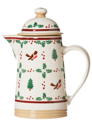 Coffee pot Winter Robin spongeware pottery by Nicholas Mosse Pottery - Ireland - Handmade Irish Craft