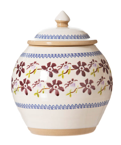 Cookie Jar Clematis spongeware by Nicholas Mosse Pottery - Ireland - Handmade Irish Craft.