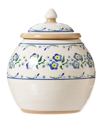 Cookie Jar Forget Me Not spongeware by Nicholas Mosse Pottery - Ireland - Handmade Irish Craft.