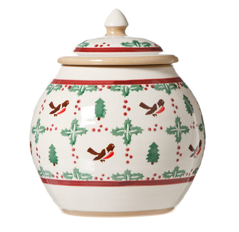Cookie Jar Winter Robin spongeware by Nicholas Mosse Pottery - Ireland - Handmade Irish Craft