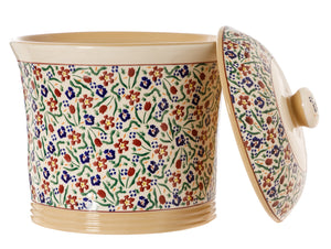 Country Crock Wild Flower Meadow with Lid off  Nicholas Mosse Pottery handcrafted Sponge ware Ireland