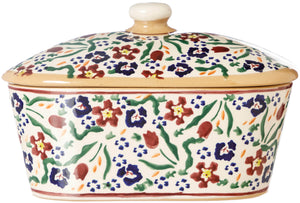 Covered Butter Dish Wild Flower Meadow Nicholas Mosse Pottery handcrafted spongeware Ireland